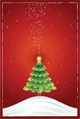 Christmas Tree,Christmas,Tree,Snow,Green Color,Star Shape,Holiday,Humor,Light - Natural Phenomenon,Ilustration,gradation,Pine Tree,Snowflake,Sky,Concepts And Ideas,Winter,Field,Nature,Time,Decoration,Illustrations And Vector Art,Vector,Glowing,Greeting,Red