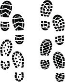 Footprint,Shoe,Track,Print,Boot,Vector,Dirty,Silhouette,Backgrounds,Steps,Outline,Isolated,Design,Ilustration,Black Color
