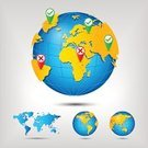 Infographic,Global Positioning System,Map,Europe,Straight Pin,Pointer Stick,Vector,White Background,The Americas,Land,Planet - Space,Red,Orange Color,Globe - Man Made Object,Sphere,World Map,Distance Sign,Asia,Earth,Symbol,Set,Australia,USA,Green Color,Blue,Africa,Gray