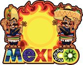 Mexico,Mexican Cuisine,Burrito,Food,Cartoon,Cheerful,Red,Cool,Green Color,Yellow,Spice,Fire - Natural Phenomenon,Idyllic,Characters,Black Color,Chili Pepper,Sun,Guitar,Sandal,Sombrero,Slipper,Singing,Smiling,Music,Heat - Temperature