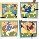 Football,American Football - Sport,Sports Team,Vector,Throwing,Kicking,Cartoon,Stadium,Sport,Running,Arranging,Sports And Fitness,Visual Art,Illustrations And Vector Art,Arts And Entertainment,Playing Field,Sports Helmet,Ilustration,Catching,Ball