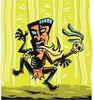 Tropical Rainforest,Costume,Tiki,Dancing,Mask,Flame,Hawaiian Culture,Polynesian Ethnicity,Indigenous Culture,Polynesia,Shaman,African Culture,Polynesian Culture,Vector,Chanting,Shouting,Spooky,Primitivism,Screaming,Bead,Cartoon,Ilustration,Traditional Clothing,Bamboo,Fire-eater,Voodoo,Horror,Jumping,Human Skull,Black Color,Period Costume,Halloween
