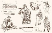 Rifle,Hunter,Retro Revival,Old-fashioned,Gun,Silhouette,Hunting,Baby Booties,Sport,Doodle,War,Warrior,Pursuit,National Landmark,Isolated,Wildlife,Clip,Knife,Gunpowder,Design,Outdoors,Scenics,Aspirations,Vector,Men,Sketch,Computer Graphic,Bird,Black Color,Shotgun,Violence,Shooting,Protection,Target,Pursuit - Concept,Bandoleer,Adventure,Accuracy,Danger,Weapon,Separation,Male,Ammunition,Ilustration,Hobbies,Aiming,Bodyguard,Image,White,Fighting,Single Object