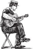 Guitar,Italian Music,Guitarist,Sketch,Musician,Street Musician,Performer,Musical Instrument,Drawing - Art Product,Italian Culture,Isolated On White,Men,Artist,Sitting,Hat,One Person