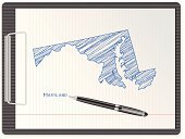 Maryland,Pencil Drawing,Sketch,Single Object,International Border,Vector,Ilustration,Ink,Sheet,Notebook,Design,Map,Topography,Clip,Ballpoint Pen,Document,Pen,Equipment,state,US State Border,USA,Direction,Note Pad,White,Blue,Paper,Clipboard