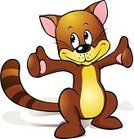 Young Animal,Ilustration,Cartoon,Cute,Pets,Characters,Black Outline,Mammal,Tail,White Background,Smiling,Thumbs Up,Small,Long,Domestic Cat,Animal,Brown,Humor,Standing,Fun,Cool,Happiness,Isolated