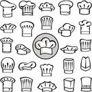 Cooking,Symbol,Human Head,Bakery,Chef,Black Color,Authority,Gourmet,Food,Restaurant,Ilustration,Vector,Eat,Collection,Hat,Daequan Cook,Set,Occupation,Cap