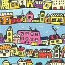Seamless,Home Interior,House,Backgrounds,Town,Fun,Creativity,Cute,Vibrant Color,Humor,Vector,Ilustration,Urban Scene,City,Wallpaper Pattern,Street,Sky,Pattern,Multi Colored