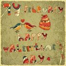 Valentine Card,Old-fashioned,Bird,Heart Shape,Ilustration,1940-1980 Retro-Styled Imagery,Vector,Greeting Card
