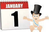 Calendar,New Year's Eve,New Year,New Year's Day,Baby,Hat,Top Hat,One Person,Party - Social Event,Desk Calendar,Celebration,January,Calendar Date,Number 1,Single Object