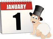 New Year's Eve,Baby,New Year's Day,New Year,Party - Social Event,Calendar Date,January,One Person,Calendar,Desk Calendar,Hat,Number 1,Single Object,Celebration,Top Hat