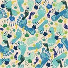Human Foot,Human Hand,Baby,Pattern,Symbol,Seamless,Backgrounds,Steps,Palm,Cartoon,Ilustration,Vector,Set,Blue,People,Silhouette,Wallpaper Pattern,Family,Barefoot,Human Finger,Small