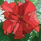 Stained Glass,Flower Head,Rose - Flower,Single Flower,Leaf,Square,Backgrounds,Flower,Plant,Hibiscus,Bush,Abstract,Vector,Window,Ilustration,Blossom,Art,Mosaic