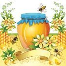 Beehive,Flower,Honey,Animal,Summer,Sweet Food,Food,Insect,Drop,Nature,Ornate,Ilustration,White,Green Color,Plant,Bee