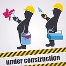 Construction Site,Cartoon,Development,Web Page,Construction Industry,House Painter,Bricklayer,Repairing,Paint Roller,Toolbox,Magenta,Paintbrush,Warning Sign,Work Tool,Internet,Manual Worker,Technology,Blue,Yellow