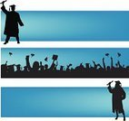 Mortar Board,Graduation,Student,Banner,Education,Blue,Crowd,Happiness,Gesturing,Diploma