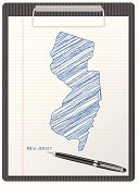 New Jersey,Clipboard,Map,Blue,Paper,Note Pad,Direction,White,Document,US State Border,Notebook,state,Equipment,Ballpoint Pen,USA,International Border,Ink,Pen,Design,Sheet,Clip,Vector,Pencil Drawing,Ilustration,Single Object,Sketch,Topography