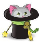 Domestic Cat,Magic Trick,Hat,Fun,Hiding,Illusion,Cheerful,Animal,Domestic Animals,Smiling,Small,Cartoon,Pets,Bow,Vector,Kitten,Magic Wand,Ilustration,Cute