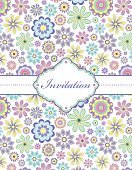 Lilac,Abstract,Invitation,Daisy,Floral Pattern,Ilustration,Holiday,Flower,Decoration,Anniversary,Pattern,Vector,Greeting Card,Pink Color,Green Color,Leaf,White,Backgrounds,Color Image,Greeting,Ornate