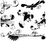 Doodle,Black Color,Swirl,White,Dirty,Nature,Grunge,Bizarre,Drawing - Activity,Decoration,Floral Pattern,Vector,Abstract,Design,Branch,Ornate,Computer Graphic,Modern,graphic element,Gardens,Nature,Set