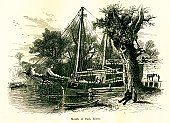 Ilustration,Coastline,Fishing Industry,Old-fashioned,Connecticut,Sailboat,Fishing,Landscape,Park - Man Made Space,Image Created 19th Century,Riverbank,Nautical Vessel,USA,The Americas,Antique,19th Century Style,Flowing,Famous Place,Sailing Ship,England,Picturesque America Or The Land We Live In,Engraved Image,Water,Boat Deck,Tree,Valley,River,North America,New England,Nature,Hartford,Water's Edge,Freshwater,Idyllic,American Culture,Scenics,Engraving,Connecticut River,Park River,North