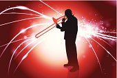 Silhouette,Back Lit,Music,Vitality,Performance,Bright,Exploding,Red,Backgrounds,Reflection,Pop,Isolated,Trumpet,Playing,Digitally Generated Image,Men,Pop Musician,Shadow,Fiber Optic,Musical Instrument,Brightly Lit,Vibrant Color,Male,Vector,Performing Arts Event,Ilustration