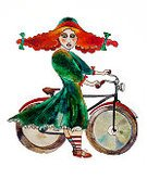 Inspiration,People,Concepts & Topics,Concepts,Freedom,Creativity,Dress,Hat,Lifestyles,Sport,Vertical,Freckle,Cycling,Looking,Bicycle,Red,Striped,Old-fashioned,Small,Wheel,One Person,Healthy Lifestyle,Beauty,Fun,Adult,Young Adult,Art And Craft,Art,Watercolor Painting,Inspiration,Illustration,Cartoon,Watercolor Paints,Painted Image,Cycle,Females,Women,One Young Woman Only,Only Women,One Woman Only,Fashion,Retro Styled,Adults Only,Beautiful People,Riding