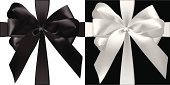 Ribbon,Black Color,Gift,gradient mesh,Isolated,White,Bow,Ilustration,Vector,Holiday,Gift Tag