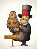 Groundhog,Day,Marmot,Mayor,Winter,Shadow,Celebration,Humor,Cartoon,Nature,Mammal,Sign,Season,Men,Mascot,Holiday,Calendar Date,Pets,Characters,Hat,Rodent,Animal,Springtime,Snow,Brown,Smiling,Ilustration,Hamster,Cute,February