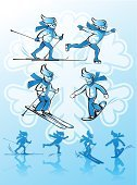 Skiing,Silhouette,Ice-skating,Roller Skating,Cross-country Skiing,Vector,Ilustration,Ski Pole,Extreme Sports,Snowflake,Skating,Alpine Skiing,Winter,Downhill Skiing,White,Reflection,Ice,Snow,Athlete,Sport,Cold - Termperature,Speed,Blue,Snowboarding