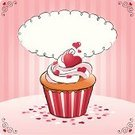 Cupcake,Valentine's Day - Holiday,Love,Heart Shape,Valentine Card,Swirl,Cake,Baking,Pink Color,Sweet Food,Cup,Confetti,Cute,Note,Icing,Celebration,Candy Heart,Gift,Sugar,Snack,Dessert,Muffin,Red,Striped,Pink Background,Food,Candy,Frame