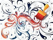 Paint,Change,Backgrounds,Decoration,Pattern,Design,Repaint,Blue,Drawing - Art Product,Paintbrush,Floral Pattern,Vector,Ilustration,Swirl,Creativity,Red
