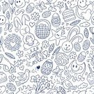 Easter,Doodle,Pattern,Seamless,Rabbit - Animal,Art,Set,Chicken - Bird,Drawing - Art Product,Springtime,Basket,Symbol,Outline,Ilustration,Cloud - Sky,Brass Instrument,Design,Baking,Butterfly - Insect,Smiley Face,Sun,Flower,Eggs,Cheerful,Ornate,Group of Objects,Leaf,Cloudscape,Bird,Holiday,Fun,Vector,Cute,Sky,Backgrounds,Computer Graphic,Catholicism,Happiness,Star Shape,Repetition,Love,Food