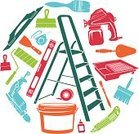 Home Improvement,Home Addition,Ladder,Paintbrush,House Painter,Bucket,Work Tool,Silhouette,Wire Brush,Wallpaper Brush,Equipment,Clip Art,Symbol,Tape Measure,Penknife,Computer Icon,Repairing,Vector,Staircase,Paint Spray Gun,Trowel,Circle,Paint,Icon Set,Set,Drill,Paint Tray,Construction Industry,Ilustration,Level,Colors,Glue,Color Image,Knife,Paint Roller,Utility Knife