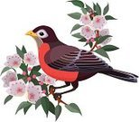 Robin,Wildlife,Mountain Laurel,USA,Branch,North America,Flower,Single Flower,No People,Ilustration,Color Image,Animals In The Wild,Bay Tree,Set,Animal,Vector,Profile View,Perching,Bird,Clip Art,Side View,Nature,Multi Colored,Colors,Sitting
