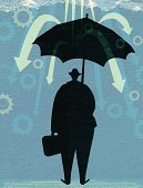 Silhouette,Business,Umbrella,Gear,Rain,Businessman,Finance,Ilustration,Arrow Symbol,Textured,Falling,Men,Vector,Uncertainty,Briefcase,Drop,Protection,Covering,Moving Down