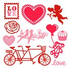 Lovebird,Tandem Bicycle,Postage Stamp,Doily,Heart Shape,Valentine's Day - Holiday,Wedding,Cupid,Decoration,Teddy Bear,Gift,Love,Cupcake,Romance,Rose - Flower