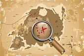 Treasure Map,Pirate,Map,Magnifying Glass,Compass Rose,Adventure,Treasure,Magnification,Grunge,Island,Run-Down,Stained,Discovery,Dirty,Old