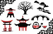 Bridge - Man Made Structure,Japanese Culture,Symbol,East Asian Culture,Vector,Asia,China - East Asia,Design Element,Ornate,Pagoda,Chinese Culture,Lantern,Ilustration,Nature,Computer Graphic,East,Tea - Hot Drink,Red,Tree,Cultures,Abstract,Sign,Gate,Decoration,Cup,Set,Silhouette,Architecture