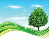 Landscape,Nature,Vector,Cloud - Sky,Banner,Tree,Outdoors,Bird,Sky,Green Color,Springtime,Day,Ilustration,No People,Design,Environmental Conservation,Copy Space,Grass,Color Image