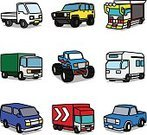 Truck,Commercial Land Vehicle,Mini Van,Pick-up Truck,Ilustration,Semi-Truck,Monster Truck,Outline,Car,Kids - Charity Organization,Isolated,Cartoon,Vector,Simplicity,Decoration,Land Vehicle,Isolated On White,Motorsport,Sport,Humor,Multi Colored,Japanese Culture,Cute