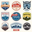 Mountain,Skiing,Ski,Sign,Badge,Symbol,Label,Sport,Mountain Climbing,Winter,Insignia,Snowboard,Snow,Placard,Banner,Patch,Exploration,Ilustration,Rescue,Computer Graphic,Wilderness Area,Circle,Extreme Terrain,Design Element,First Aid,First Aid Sign,Design,Set,Orange Color,Green Color,Recreational Pursuit,Blue