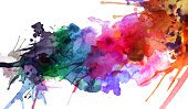 Painted Image,Abstract,Paint,Watercolor Painting,Spray,Backgrounds,Multi Colored,Splattered,Splashing,Rainbow,Design Element