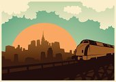 Retro Revival,Built Structure,Old-fashioned,Building Exterior,Silhouette,Train,Locomotive,City,Skyscraper,Cityscape,Urban Scene,Dawn,Railroad Track,Transportation,Dusk,Steel,Metal,Computer Graphic,Sun,City Life,Downtown District,Classic,Urban Skyline,Clip Art,Sunset,Town,Sky,Ilustration,Land Vehicle,Sunrise - Dawn,Vector,Cloudscape,Cloud - Sky,Sunlight