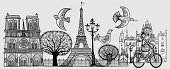 Eiffel Tower,Basilique Du Sacre Coeur,Pencil Drawing,Ilustration,Drawing - Art Product,Art,Tree,Bird,Basilica,Facade,Vector,Street Light,Bicycle,Ink,Style,Sign,Tower,Door,Notre Dame
