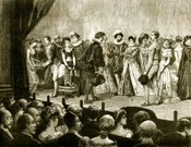 Catwalk - Stage,Stage Theater,Theatrical Performance,England,Old,Actor,Acting,Ilustration,People,Crowd,Spectator,Engraving,Engraved Image,Old-fashioned,Image Created 19th Century,19th Century Style,Stage Costume,Communication,Curtain,Indoors,Line Art,Period Costume,Drawing - Art Product,Sepia Toned,Auditorium,Entertainment,Social History,Lighting Equipment,Performance,British Culture,Antique,Monochrome,Audience,Cultures,English Culture,Group Of People,History,Image Created 1880-1889,Illuminated,Well-dressed,Traditional Clothing,UK,Listening,Performer,Sitting,Print,limelight,Watching,Sunday Best,The Past,Lime Light,Performing Arts Event