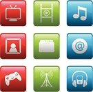 Entertainment Center,Music,Information Medium,Audio Equipment,Ilustration,Multimedia,Vector,Internet,Leisure Games,Clip Art,Radio,Drawing - Art Product,Electronics Industry,The Media,E-Mail,Television Set,Antenna - Aerial,Video Game,Design Element,Icon Set,Symbol,Technology,Headphones,Movie,Computer Graphic,Entertainment,File