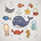 Sea Life,Label,Happiness,Cheerful,Crab,Sea,Starfish,Clip Art,Animated Cartoon,Fish,Characters,Animal,Cute,Collection,Ilustration,Doodle,Jellyfish,Sea Horse,Bubble,Smiling,Aquatic Mammal,Hermit Crab,Squid,Mammal,Vector,hand drawn,Stingray,Multi Colored,Whale,Sea World - Jakarta,Set,Shrimp,Sticky,Simplicity