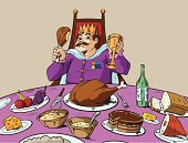 King,Eating,Drinking,Kitchen Knife,Food,Throne,Chicken Wing,Buffet,Drink,Stew,Cartoon,Fork,Bread,Bottle,Cake,Wine,Gravy,Smiling,Grape,Banana,Celebratory Toast,Fur,Majestic,feasting,Ham,Dinner,Crown,Happiness,Celebration,Cup,Royal Person,Alcohol,Cheese,Lunch,Banquet,Butter,Table Knife,Chair,Overweight,Apple - Fruit,Diamond,Strawberry,Wine Bottle,Prepared Potato,Nobility,Party - Social Event