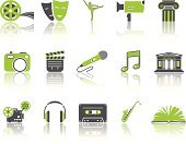 Film Reel,Microphon,Computer Icon,Symbol,Musical Note,Film Projector,Architectural Column,Book,Microphone,Built Structure,Headphones,Museum,Movie Camera,Green Color,Music,Audio Cassette,Musical Instrument,Home Interior,Stage Theater,Saxophone,Ahsha Rolle,Dancing,Theater Mask,Ballet,Film Slate,Architecture,Camera Film,Gray,Camera - Photographic Equipment